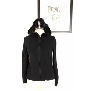 BCBG Max Azria Sweater Black Size Medium Fur Hood